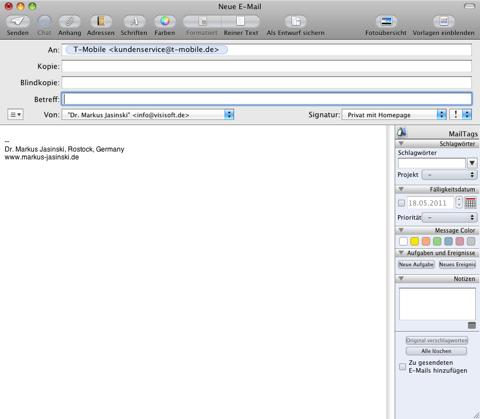 Screenshot einer aus dem Suchergebnis erzeugten E-Mail