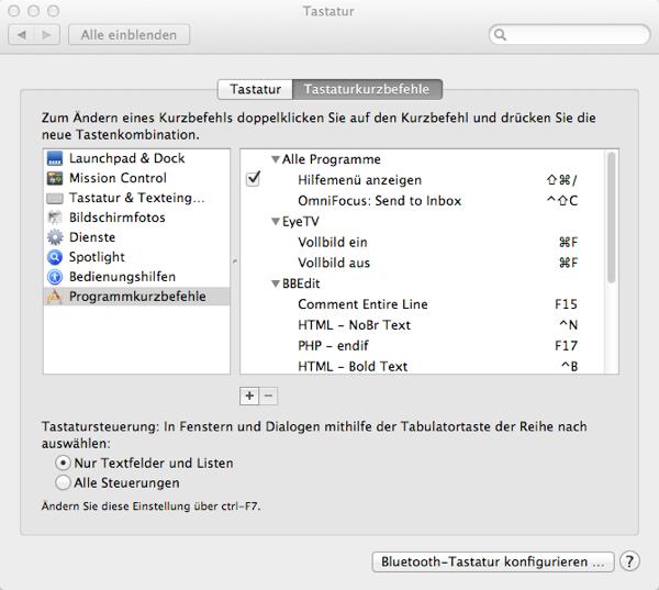 Screenshot des Abschnitts Programmkurzbefehle in den Systemeinstellungen