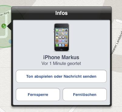 Screenshot der App iPhone-Suche von Apple