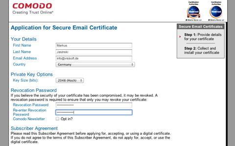 Screenshot der Zertifikatsbestellung bei Comodo