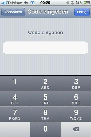 Screenshot der Sperrcode-Eingabe auf dem iPhone