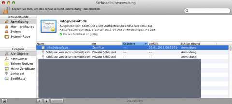Screenshot der Schlüsselbundverwaltung