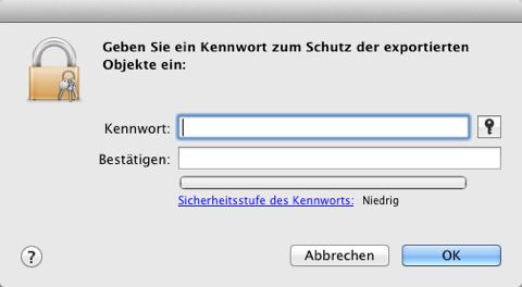 Screenshot der Kennwortvergabe in der Schlüsselbundverwaltung