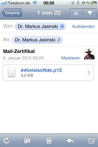Screenshot der E-Mail mit dem Zertifikat