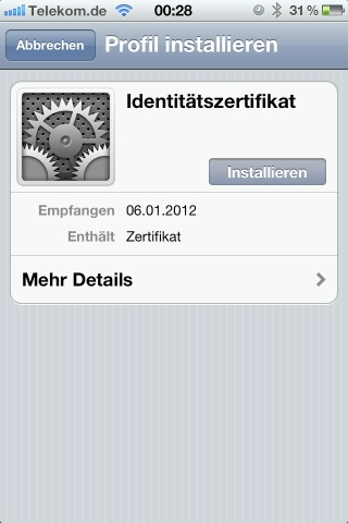 Screenshot der Zertifikatsinstallation auf dem iPhone