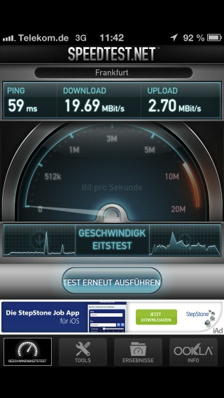 Speedtest mit dem iPhone 5