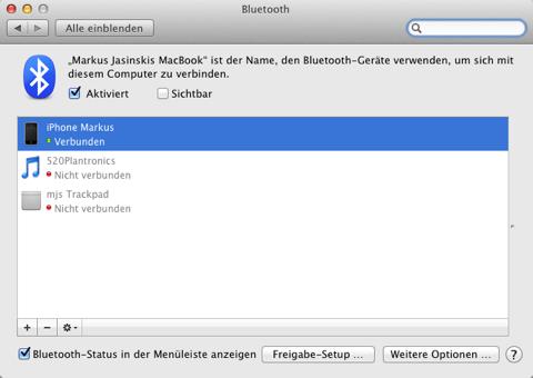 Screenshot der Bluetooth-Einstellungen auf dem Mac