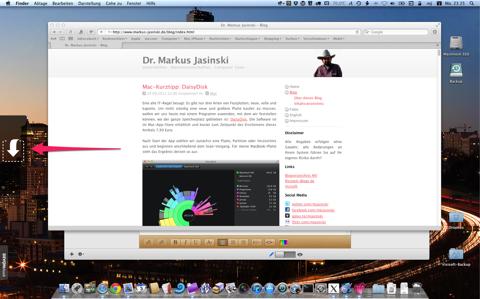 Screenshot der leeren Yoink-Ablagefläche