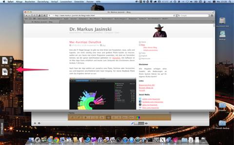 Screenshot mit zwei Dateien in der Yoink-Ablagefläche