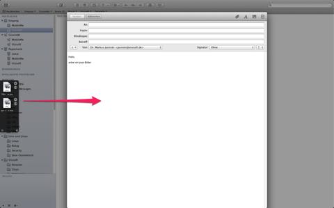 Screenshot der Datei-Entnahme aus Yoink