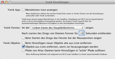 Screenshot der Yoink-Einstellungen