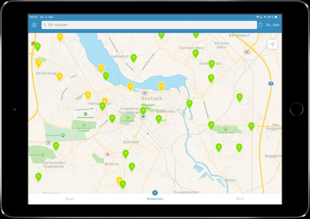 Screenshot der Karte mit den Daten aller öffentlichen Außenmodule