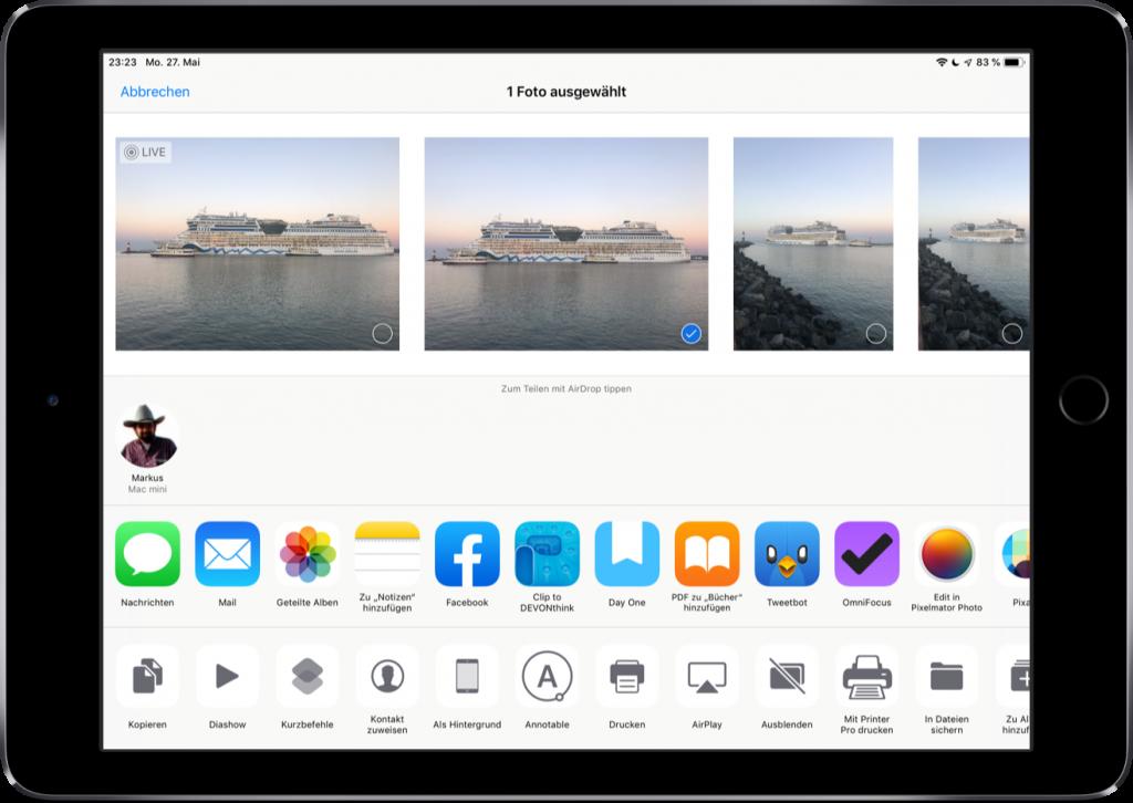 Auswahl des Fotos in der Foto-App
