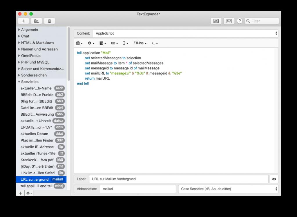 Screenshot des TextExpander-Snippets