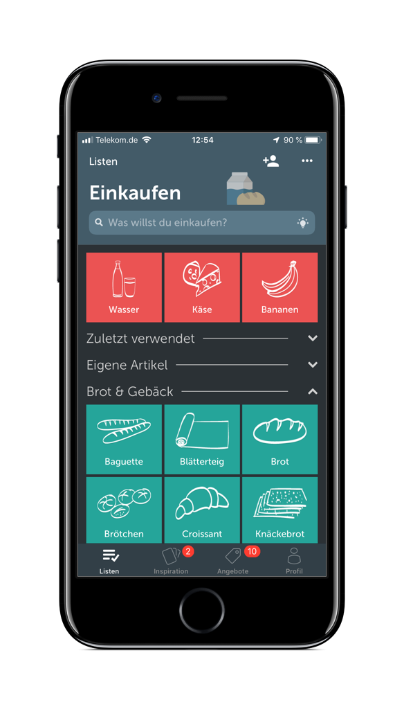 Screenshot der Bring-App
