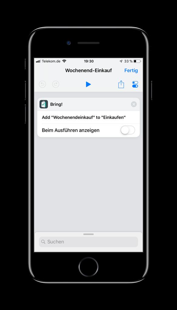 Screenshot des Bring-Befehls in der Kurzbefehle-App