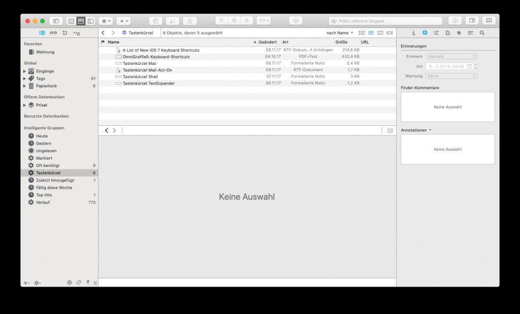 Screenshot von DEVONthink 3 für macOS