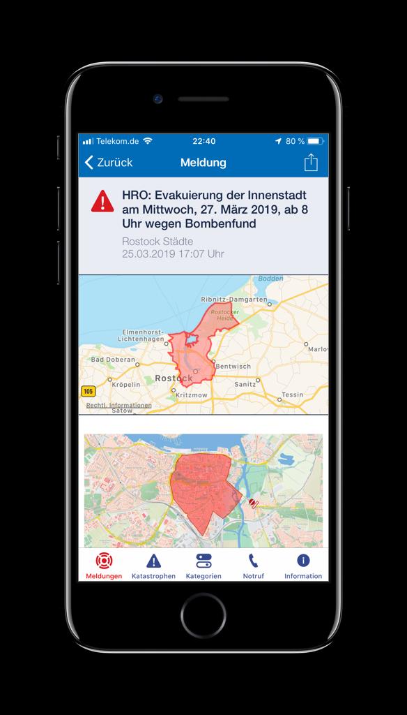 Screenshot einer Gefahrenmeldung in der HRO-App