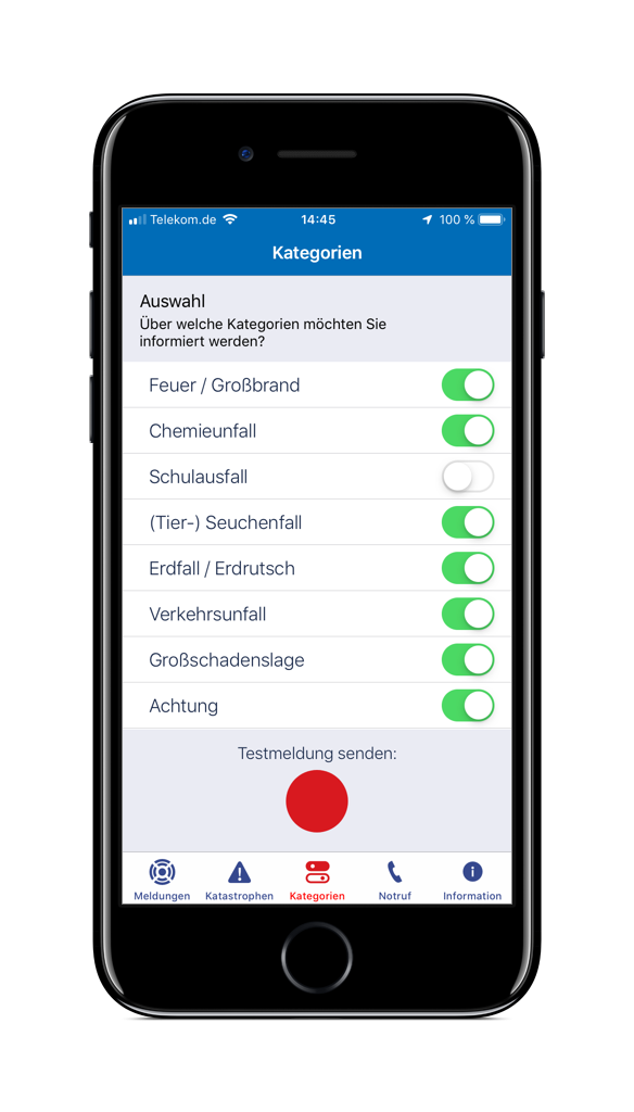 Screenshot der Einstellungen in der HRO-App