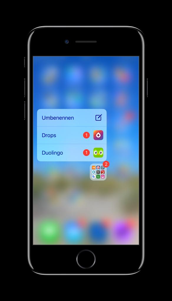 Screenshot der Kennzeichen-Aufschlüsselung bei 3D-Touch auf einen Ordner