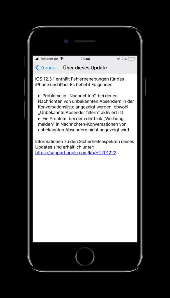 Screenshot mit der Update-Beschreibung zu iOS 12.3.1