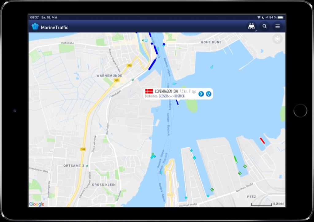 Screenshot der MarineTraffic-App mit Infobox zu einem Schiff