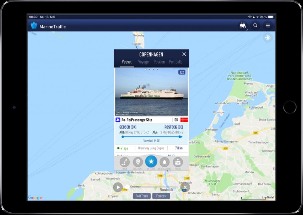 Screenshot der MarineTraffic-App mit Detailinformationen zu einem Schiff