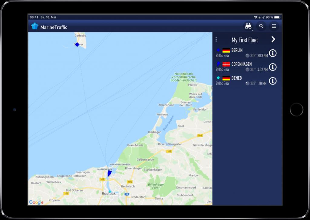 Screenshot der MarineTraffic-App mit einem Beispiel für die Flotten-Funktion
