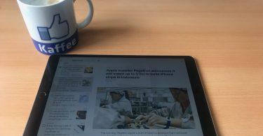Foto eines iPads mit Newsreader-App