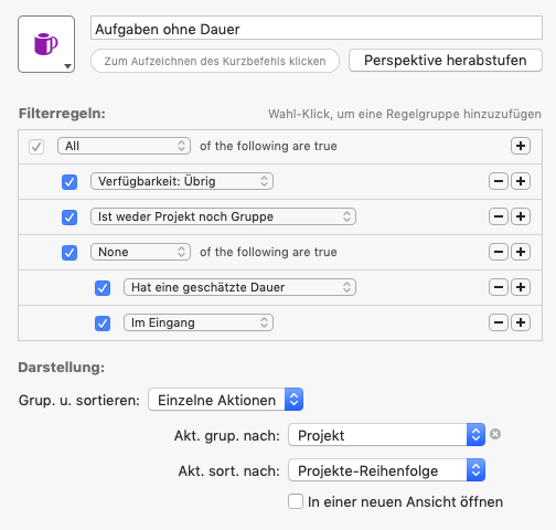 Screenshot der Perspektive Aufgaben ohne Dauer