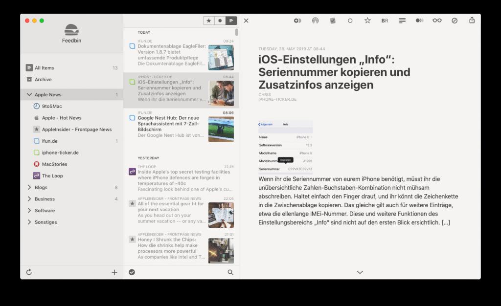 Screenshot der App Reeder für den Mac