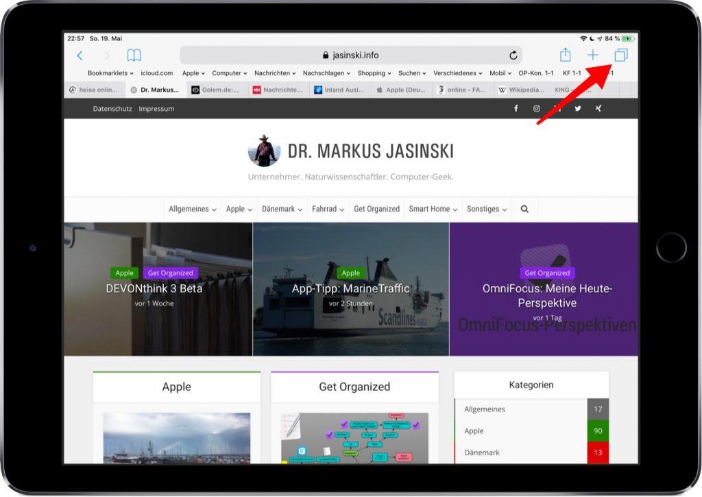 Screenshot von Safari im iPad mit Hinweis auf Tab-Icon