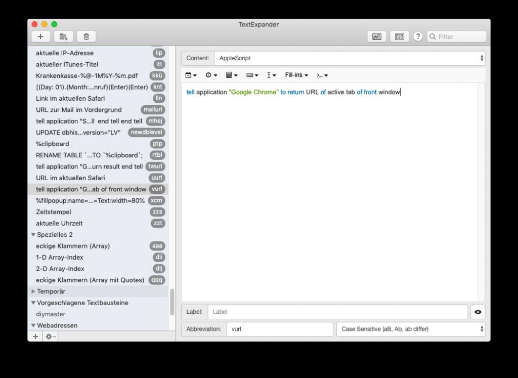 TextExpander-Snippet für Chrome-URLs