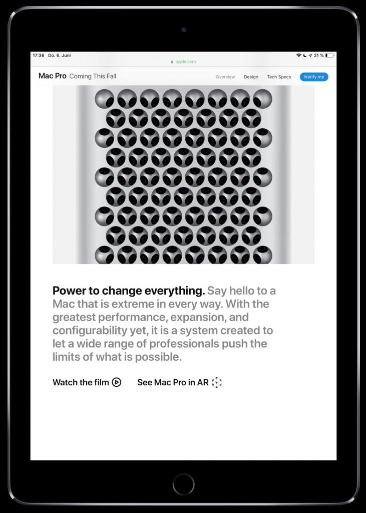Screenshot der Apple-Webseite zum neuen Mac Pro