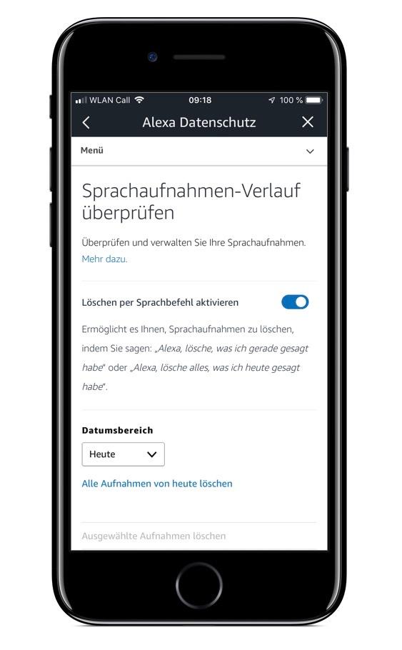 Screenshot der Sprachaufnahmen-Verlaufseinstellungen