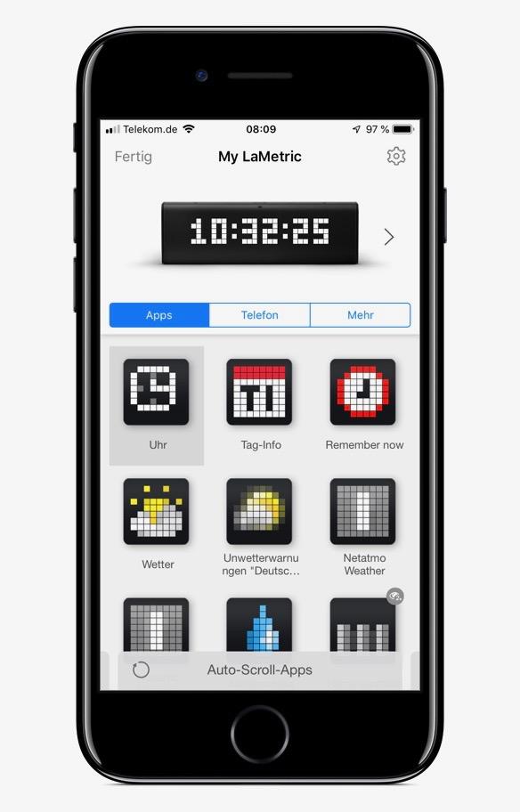 Screenshot der LaMetric-App