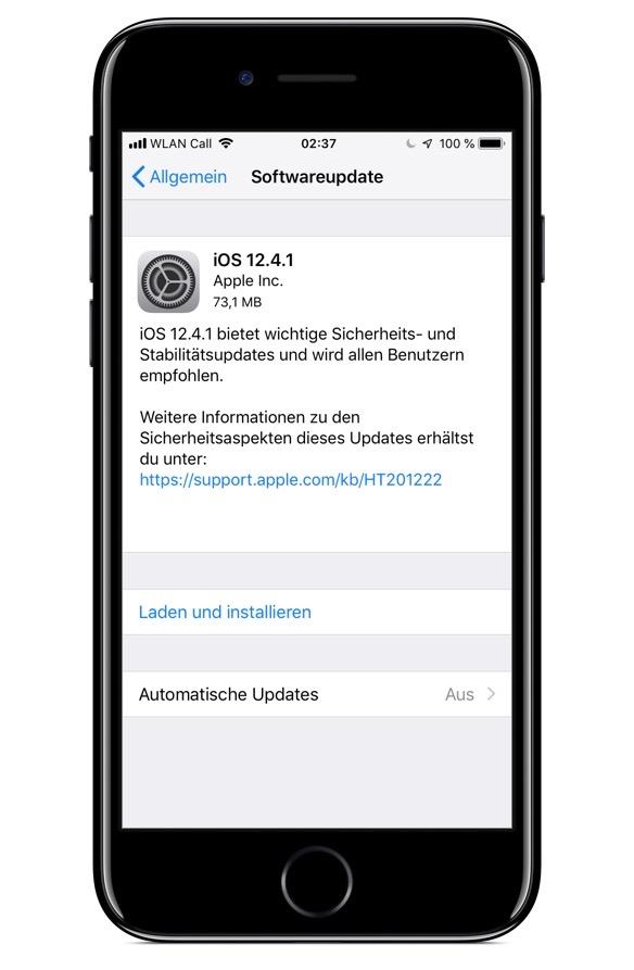 Screenshot der Update-Hinweise für iOS 12.4.1