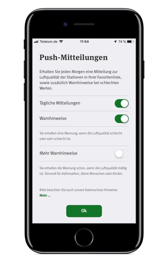 Screenshot der App Luftqualität vom Umweltbundesamt (Push-Funktion)
