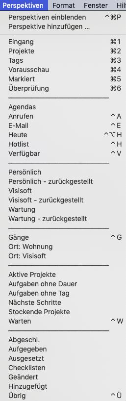 Screenshot meines Perspektiven-Menüs in OmniFocus