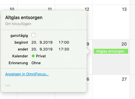 Screenshot eines Kalendereintrags mit OmniFocus-Link
