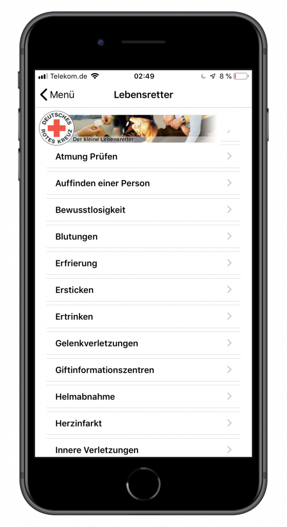 Screenshot einer Erste-Hilfe-App