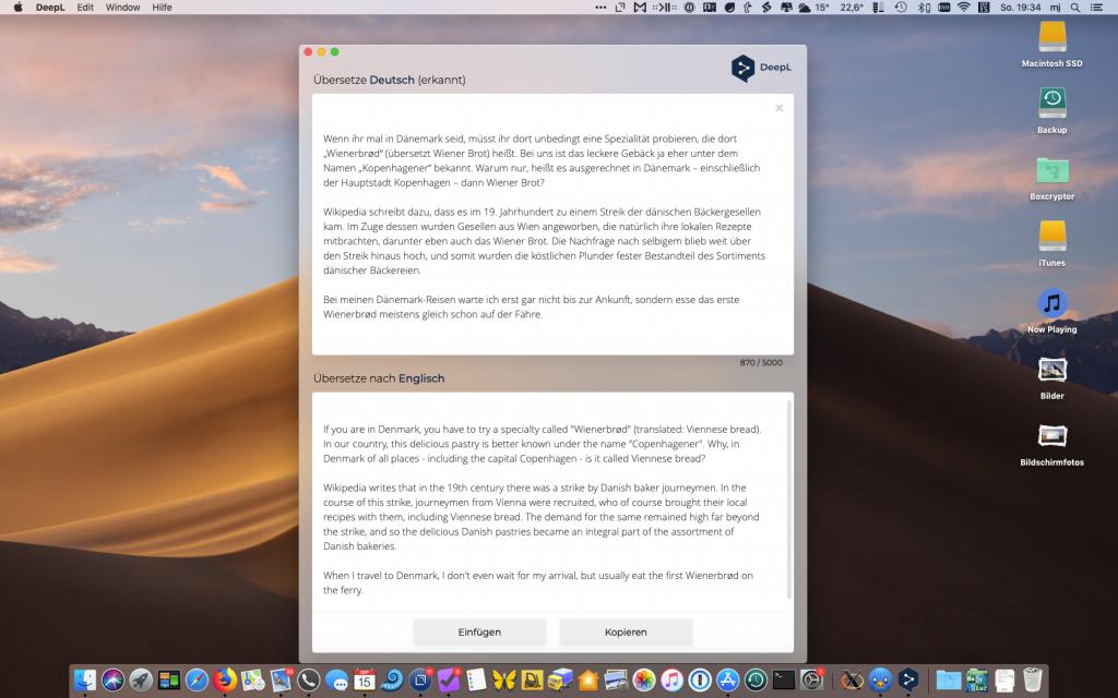 Screenshot von DeepL für Mac mit Beispielübersetzung