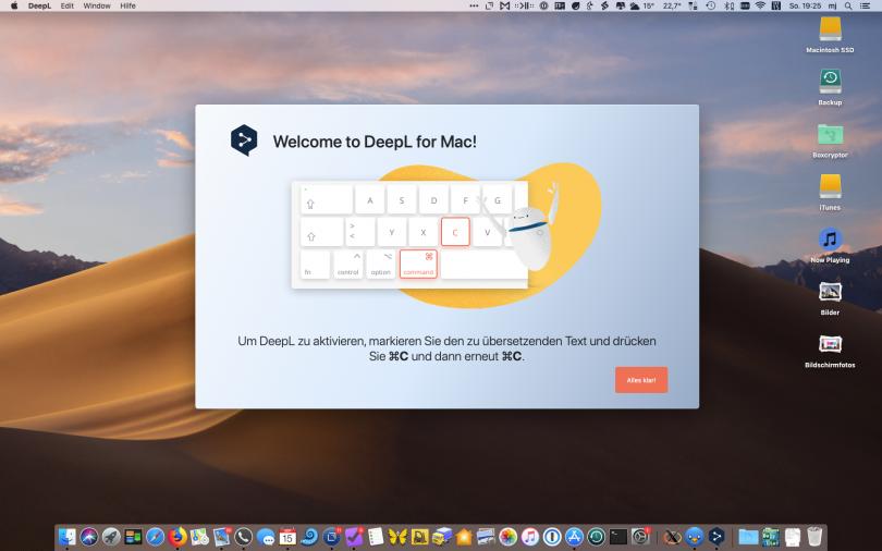 Screenshot von DeepL für macOS (Einführung)