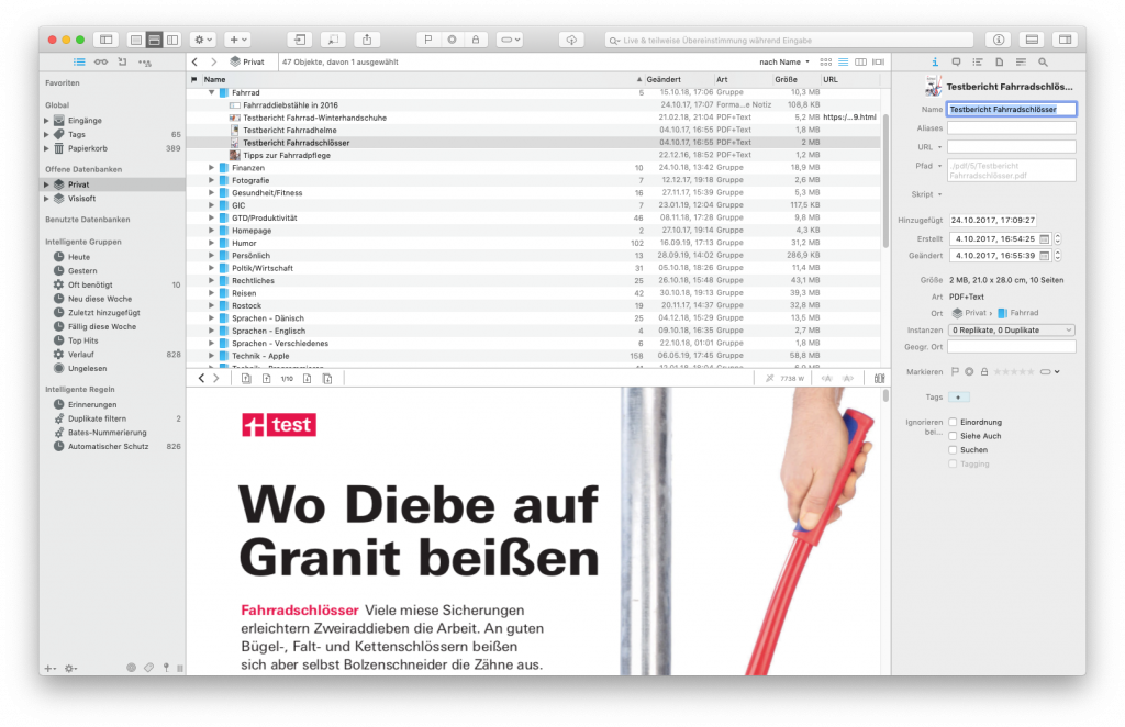 Screenshot DEVONthink für macOS
