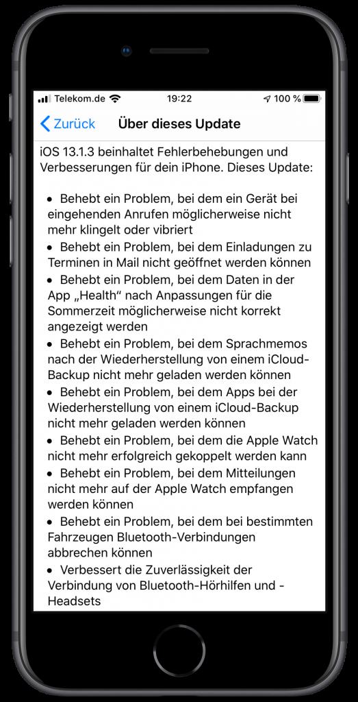 Screenshot der Update-Beschreibung von iOS 13.1.3