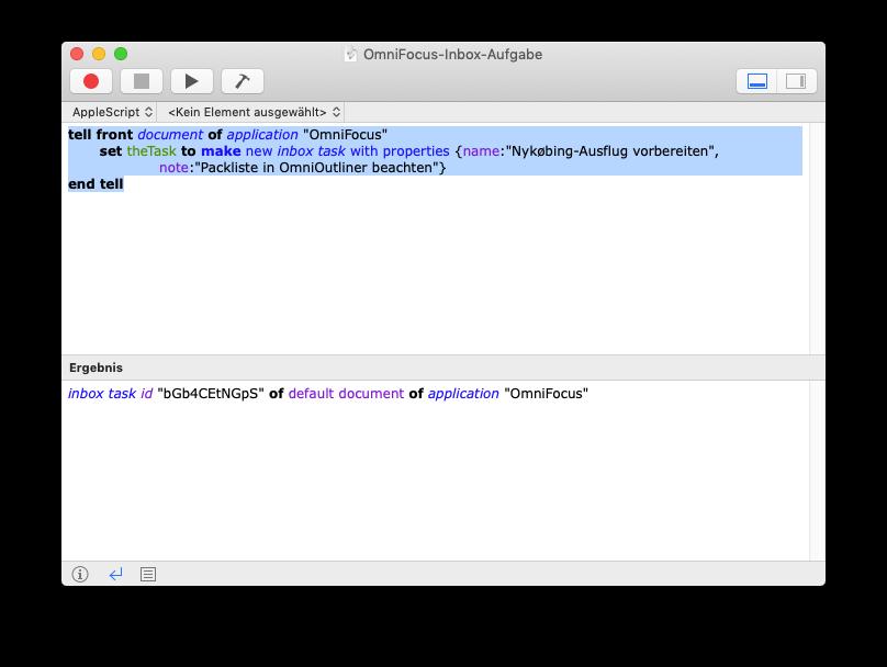Skript-Editor von macOS mit unserem Aufgaben-Skript
