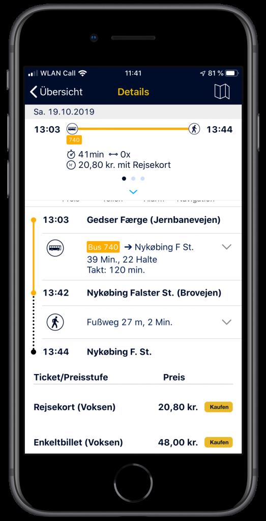 Screenshot der Verbindung von Gedser nach Nykøbing