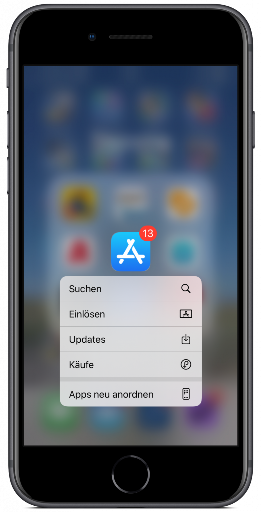 Screenshot des Kontextmenüs der App-Store-App