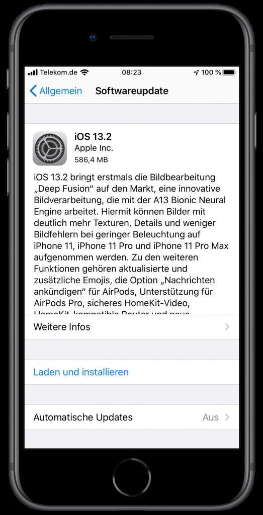 Screenshot der Update-Informationen zu iOS 13.2