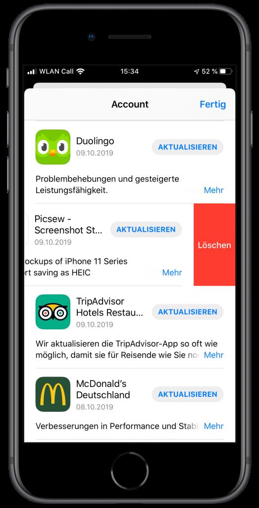 Screenshot der neuen Update-Seite des App-Stores